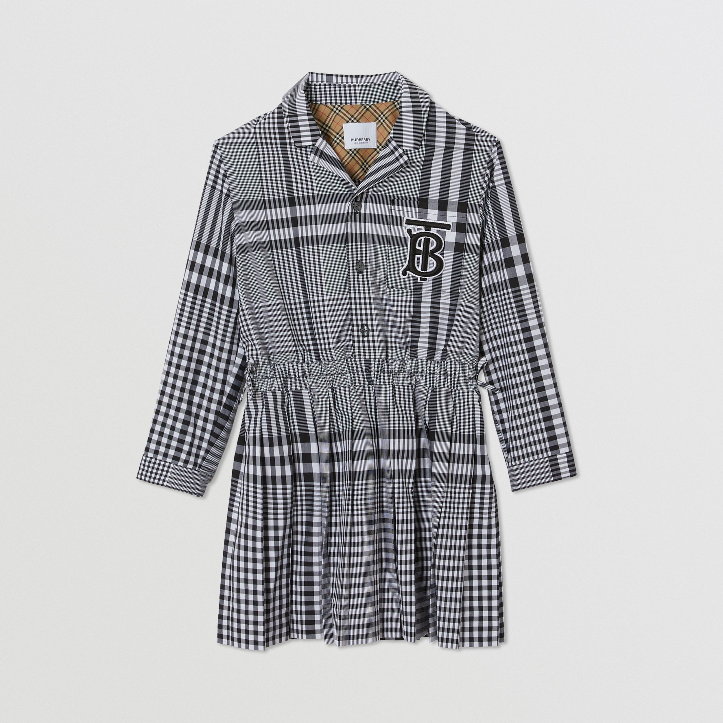 Long-sleeve Monogram Motif Check Cotton Dress in Black | Burberry - 1