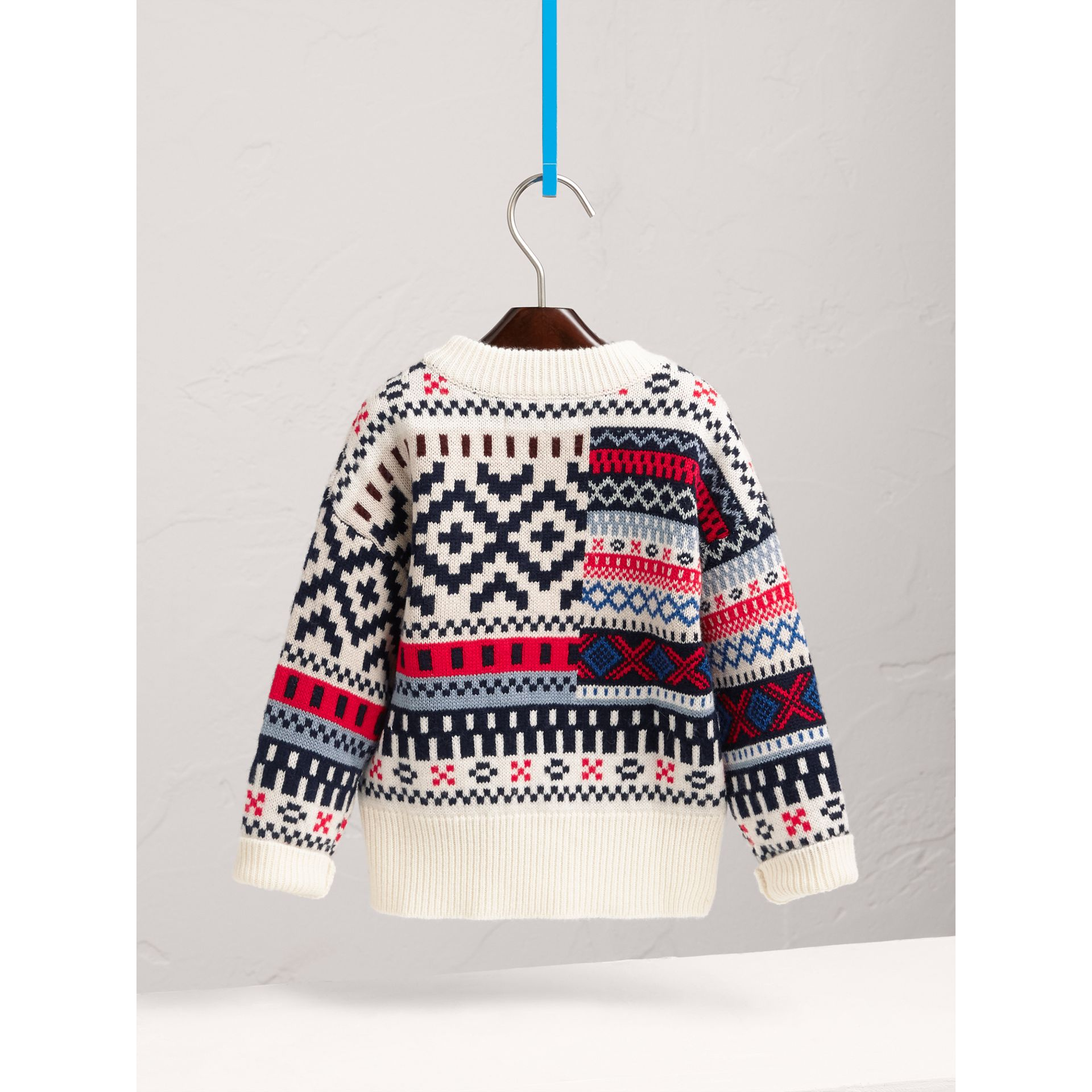 Fair Isle Wool Cashmere Patchwork Sweater in Pewter Blue - Girl | Burberry - gallery image 4