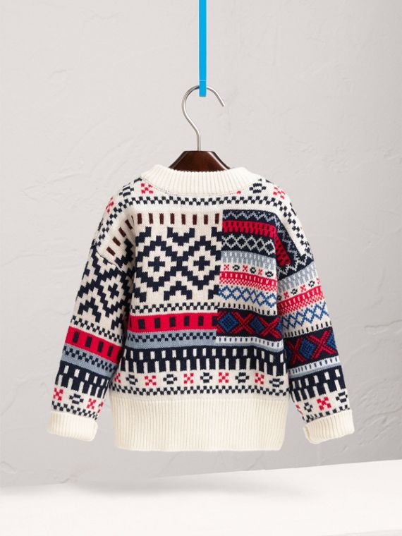 Fair Isle Wool Cashmere Patchwork Sweater in Pewter Blue - Girl | Burberry - cell image 3