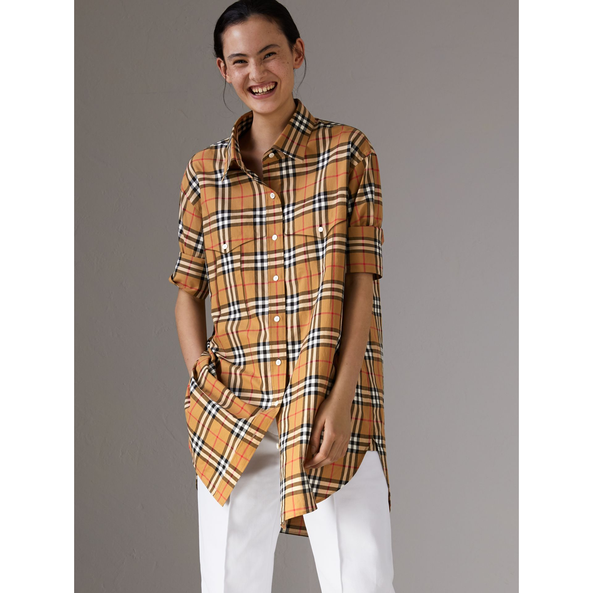 Vintage Check Cotton Shirt in Antique Yellow - Women | Burberry Australia - gallery image 4