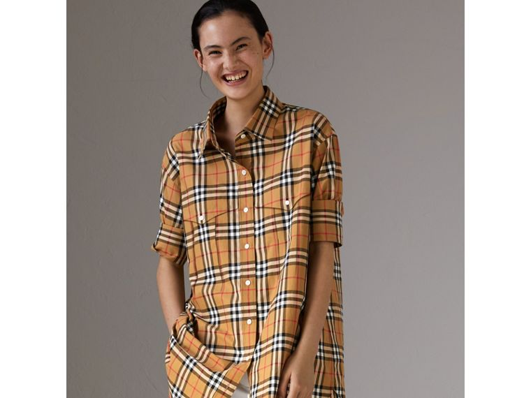 Vintage Check Cotton Shirt in Antique Yellow - Women | Burberry Australia - cell image 4