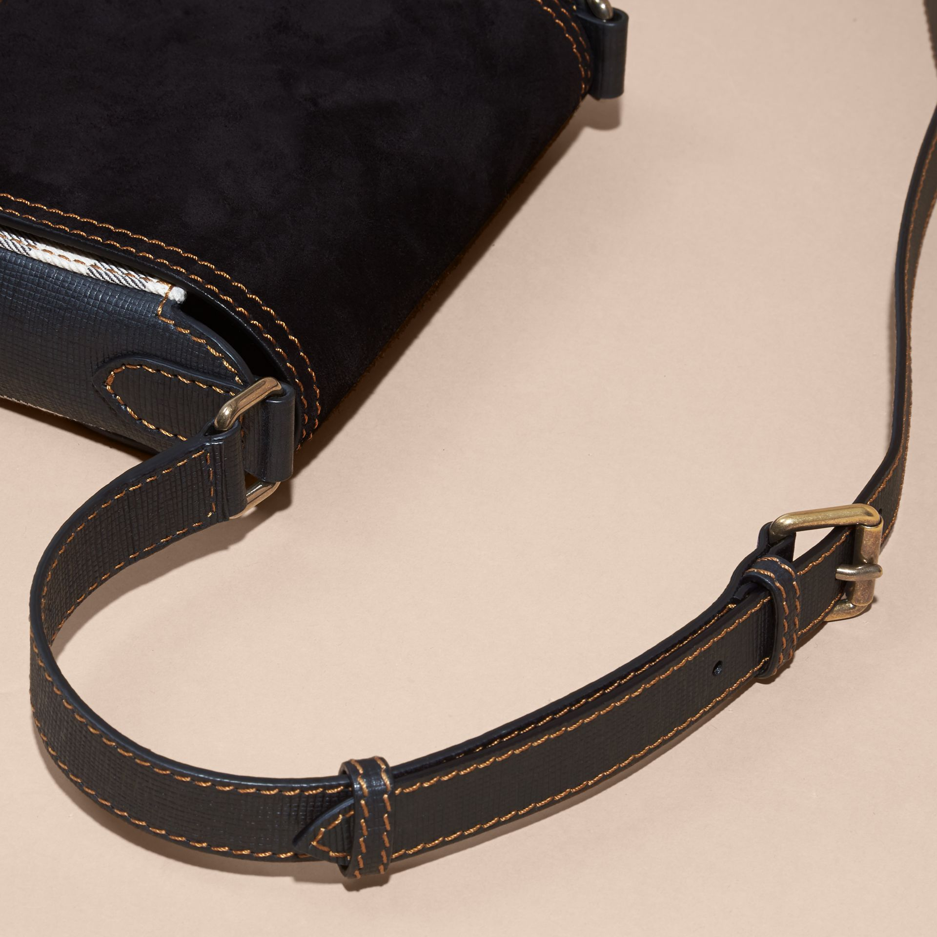 Black The Small Satchel in English Suede and House Check Black - gallery image 6