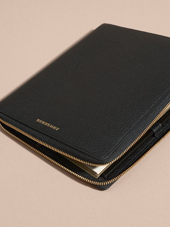 Black Ziparound Grainy Leather A5 Notebook Black - cell image 2