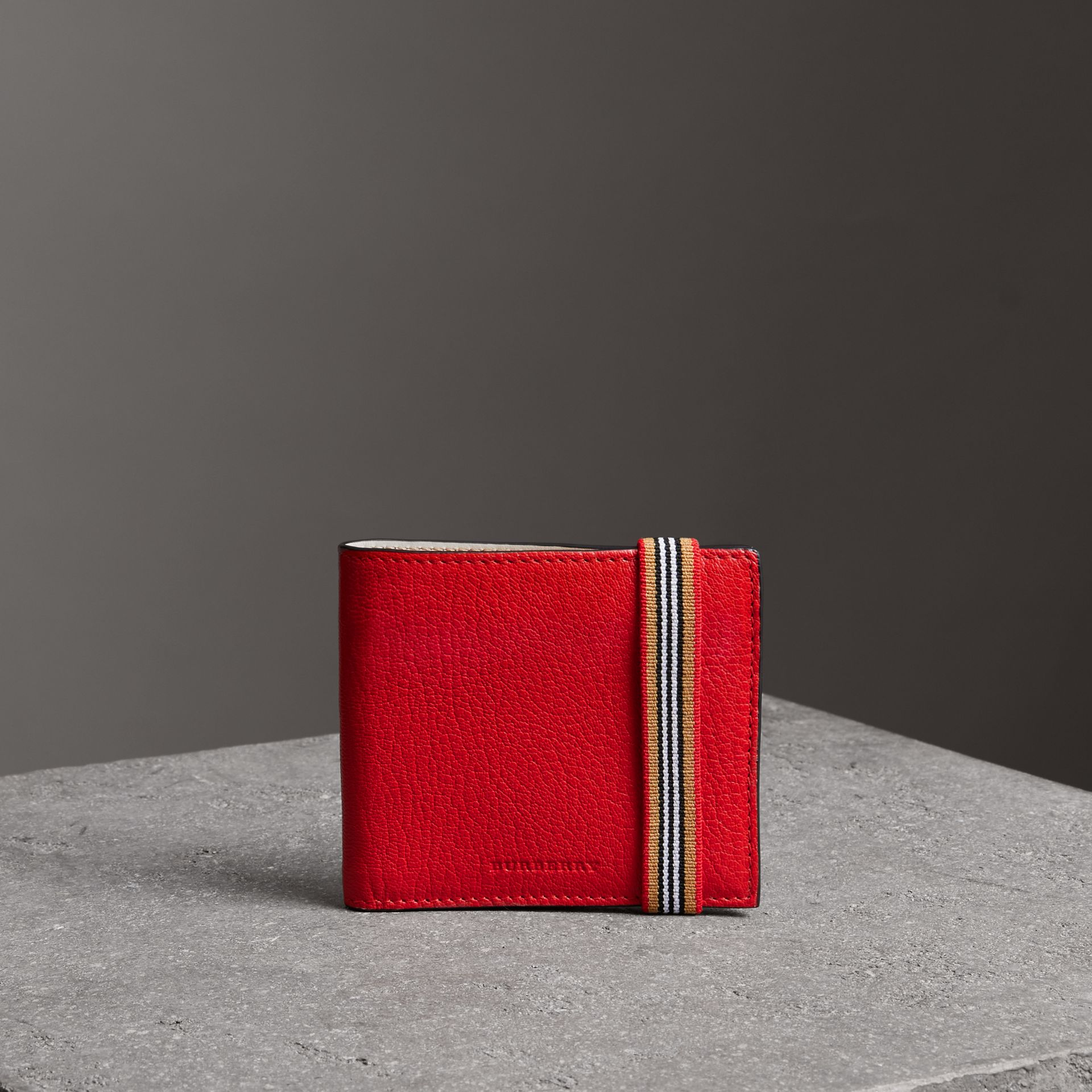 Icon Stripe Leather International Bifold Wallet in Bright Red - Men | Burberry - gallery image 0