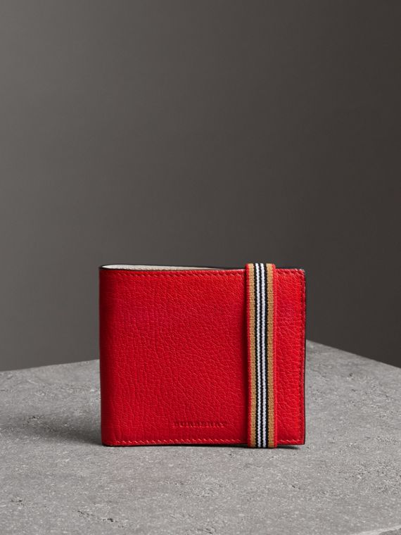 Icon Stripe Leather International Bifold Wallet in Bright Red