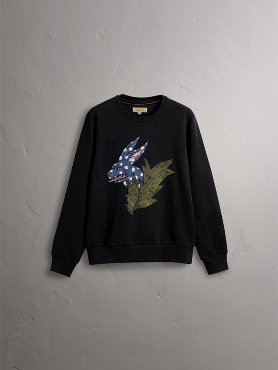 Beasts Motif Cotton Sweatshirt - Men | Burberry Australia - cell image 3
