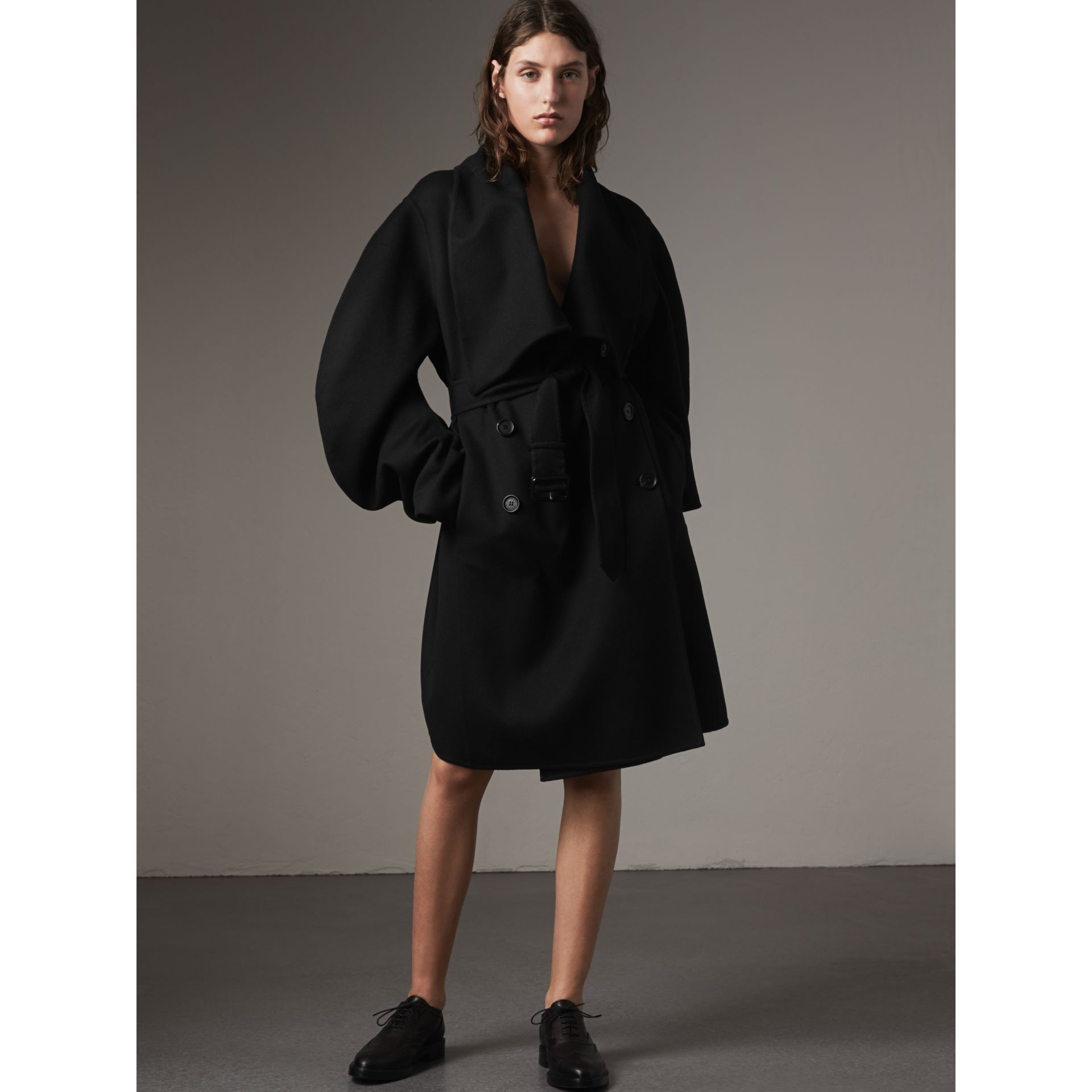 Double-faced Wool Cashmere Sculptural Coat in Black - Women | Burberry - gallery image 1