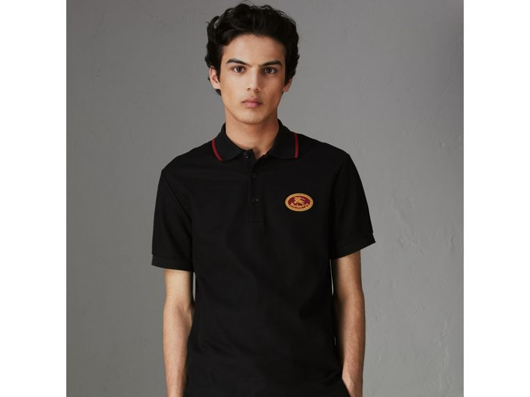 Archive Logo Cotton Piqué Polo Shirt in Black - Men | Burberry United Kingdom - cell image 4