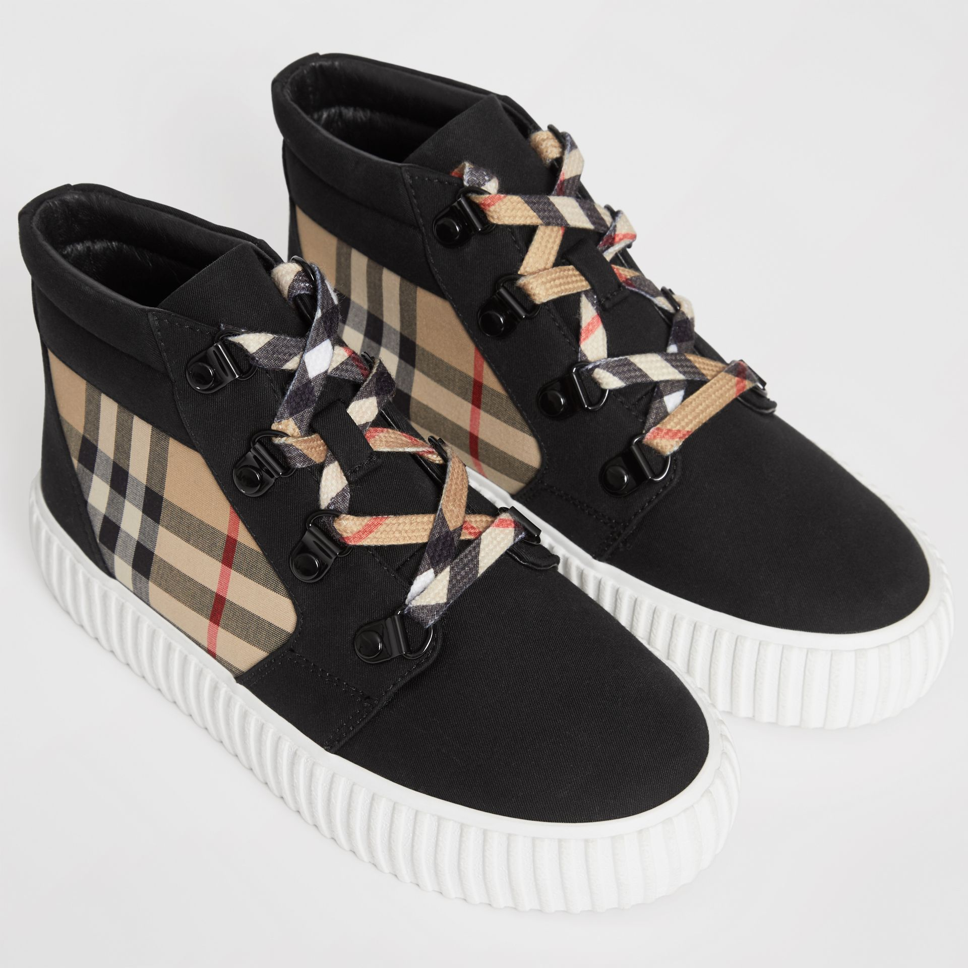 Vintage Check Detail High-top Sneakers in Archive Beige/black - Children | Burberry - gallery image 1