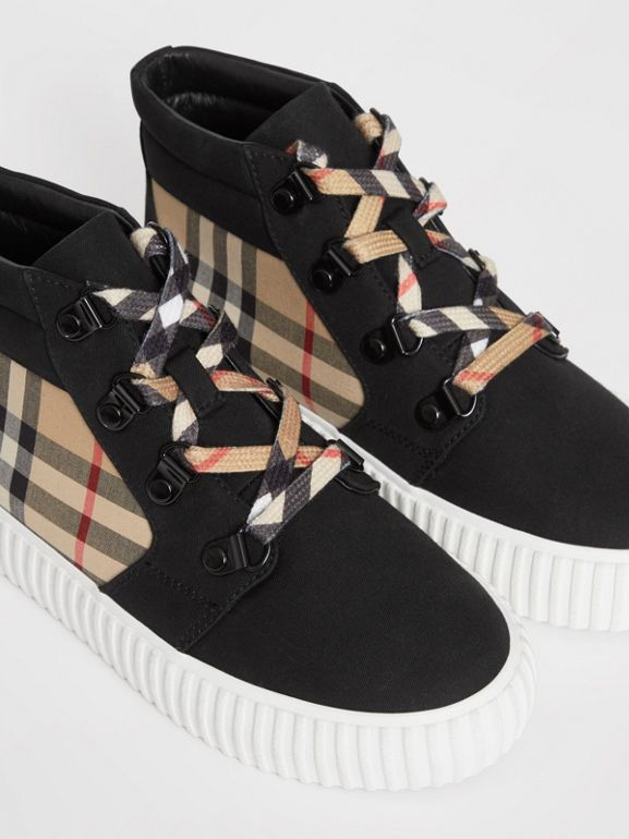 Vintage Check Detail High-top Sneakers in Archive Beige/black - Children | Burberry Australia - cell image 1