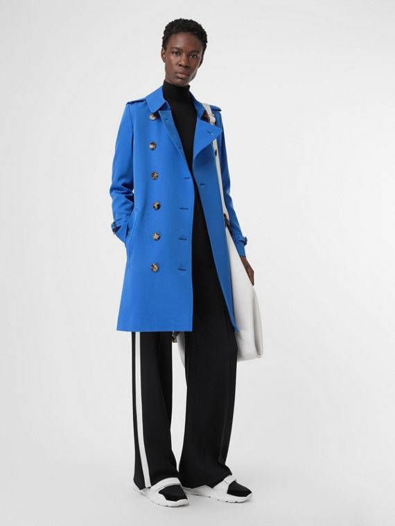 Wool Gabardine Trench Coat in Sky Blue