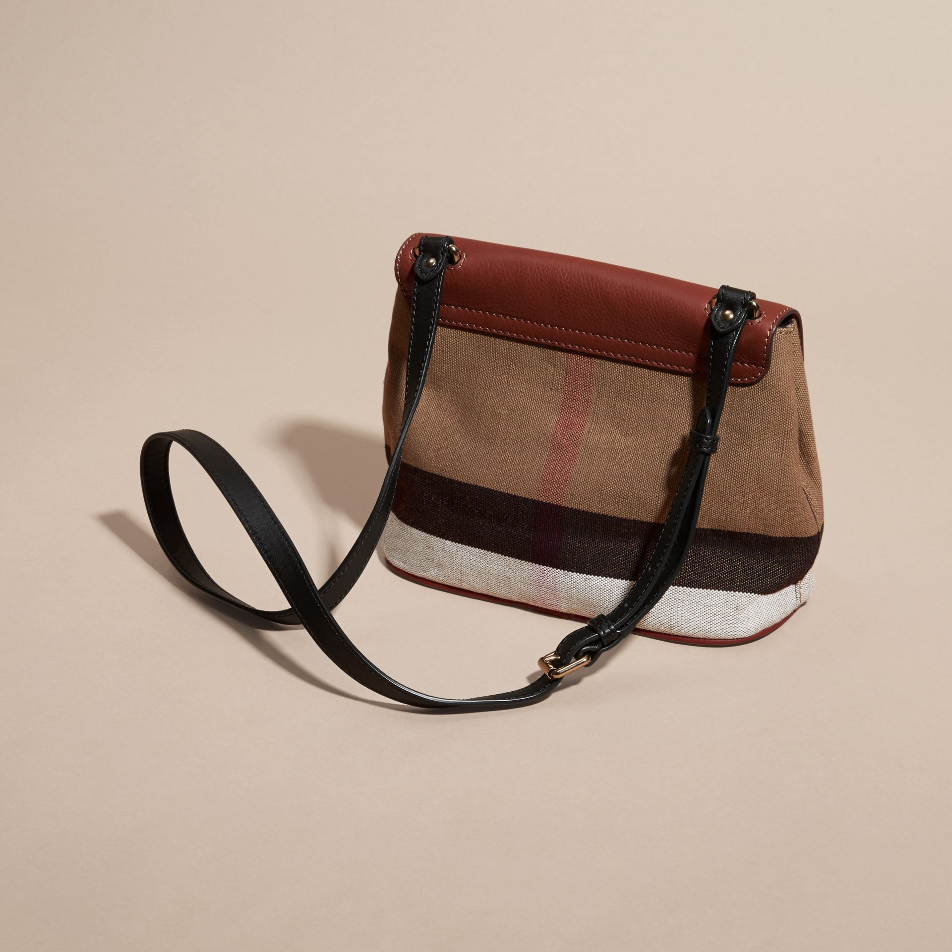 Tan Canvas Check and Leather Crossbody Bag - gallery image 4