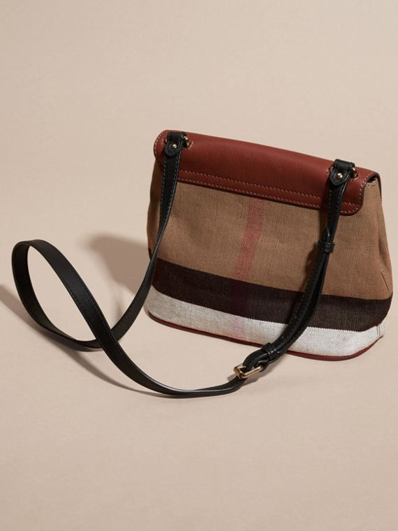 Tan Canvas Check and Leather Crossbody Bag - cell image 3