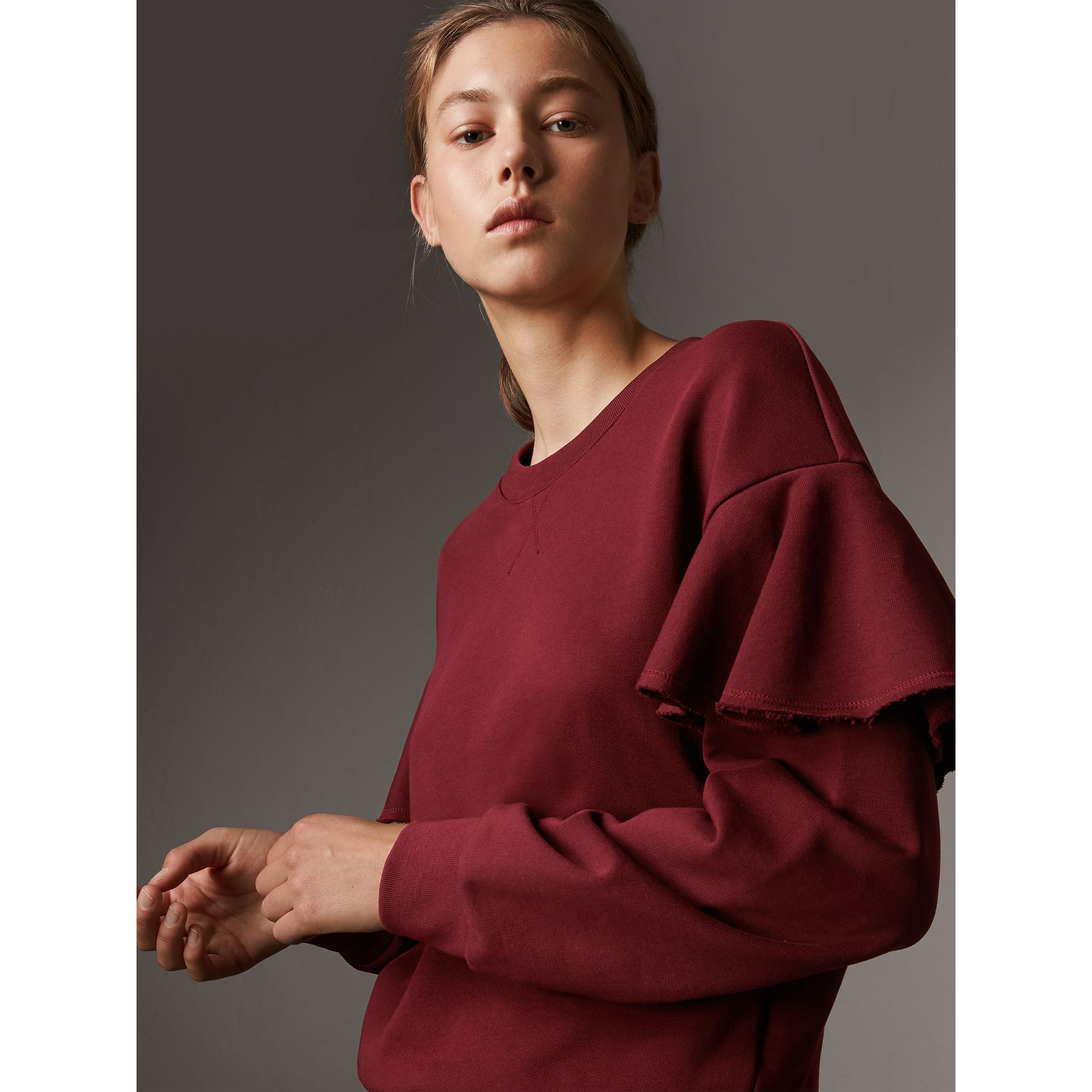 Ruffle Detail Cotton Jersey Sweatshirt in Dark Plum - Women | Burberry - gallery image 2