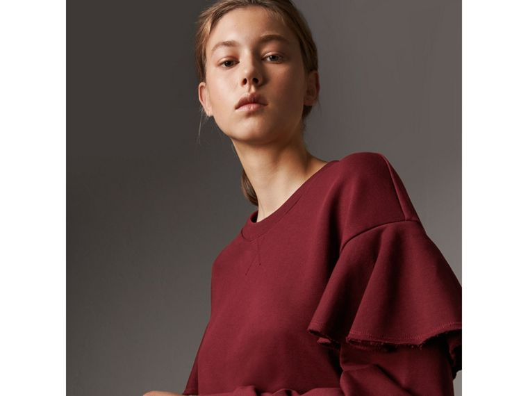 Ruffle Detail Cotton Jersey Sweatshirt in Dark Plum - Women | Burberry - cell image 1