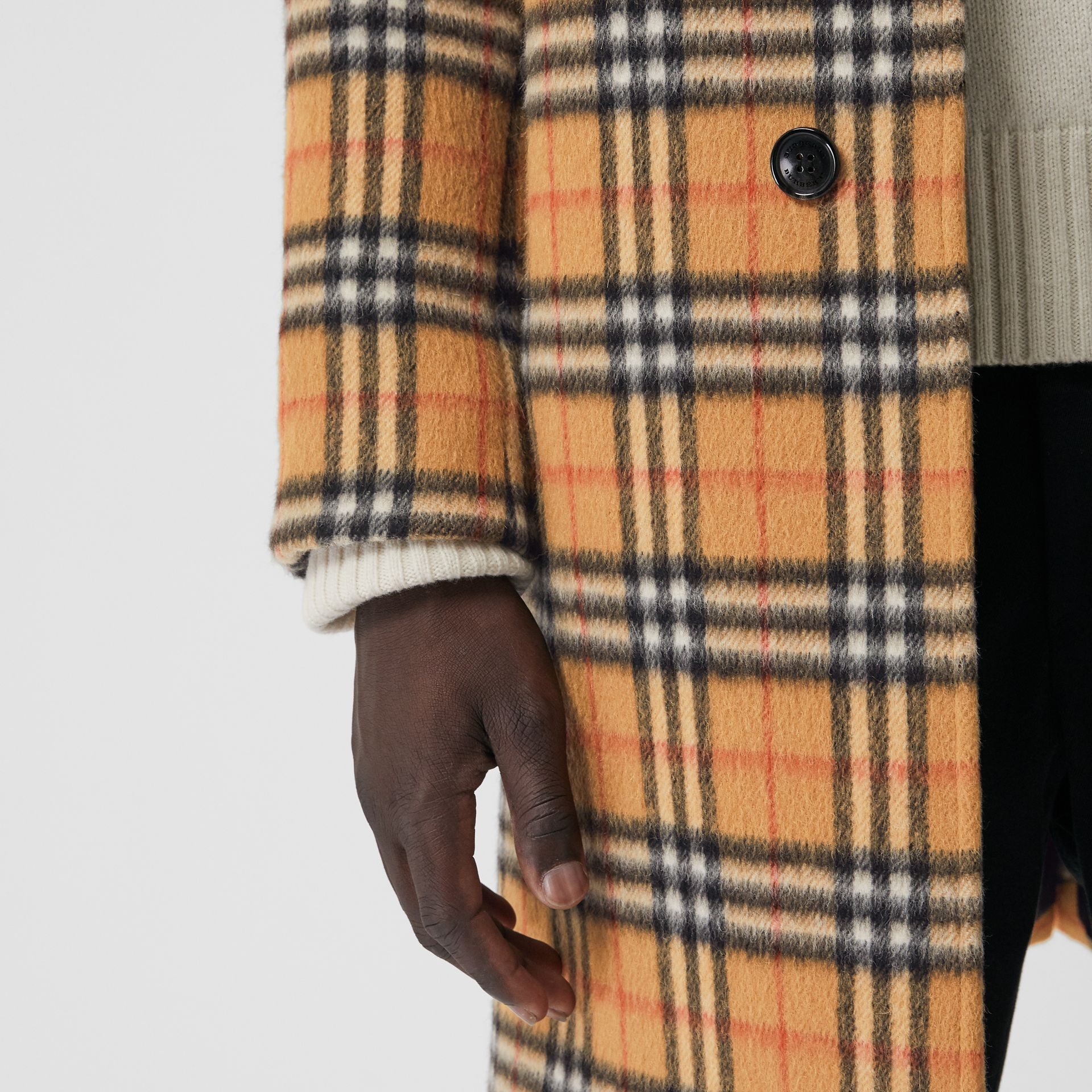 Vintage Check Alpaca Wool Car Coat in Antique Yellow - Men | Burberry Canada - gallery image 4