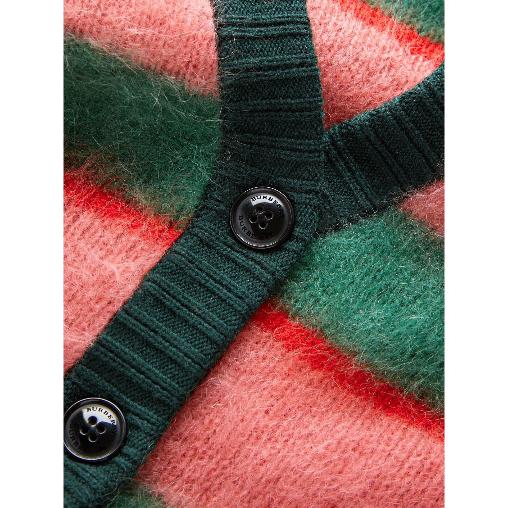 Tri-tone Striped Mohair Blend Cardigan in Dark Forest Green - Girl | Burberry - gallery image 1
