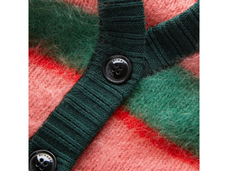 Tri-tone Striped Mohair Blend Cardigan in Dark Forest Green - Girl | Burberry Australia - cell image 1