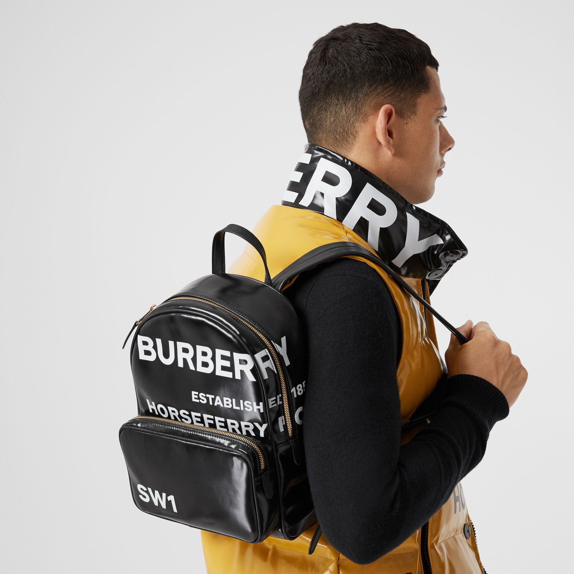 Horseferry Print Coated Canvas Backpack in Black | Burberry - gallery image 2
