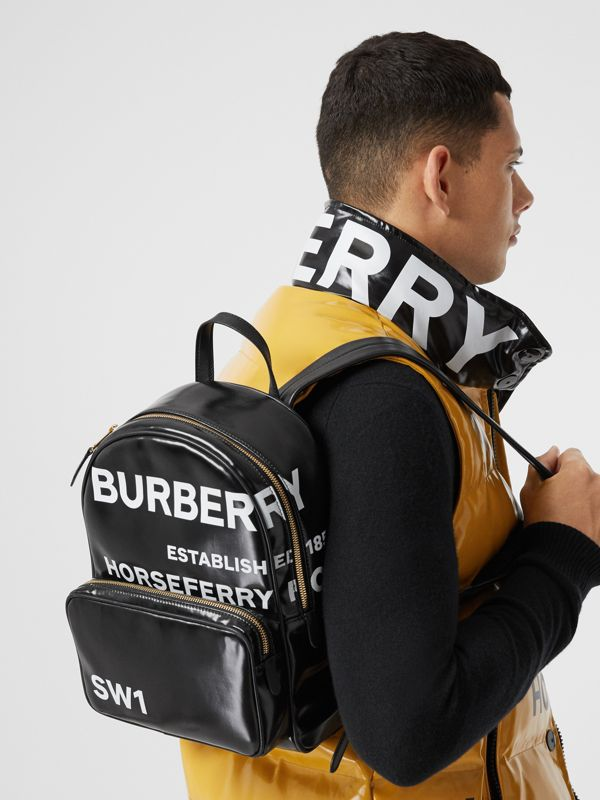 Horseferry Print Coated Canvas Backpack in Black | Burberry - cell image 2