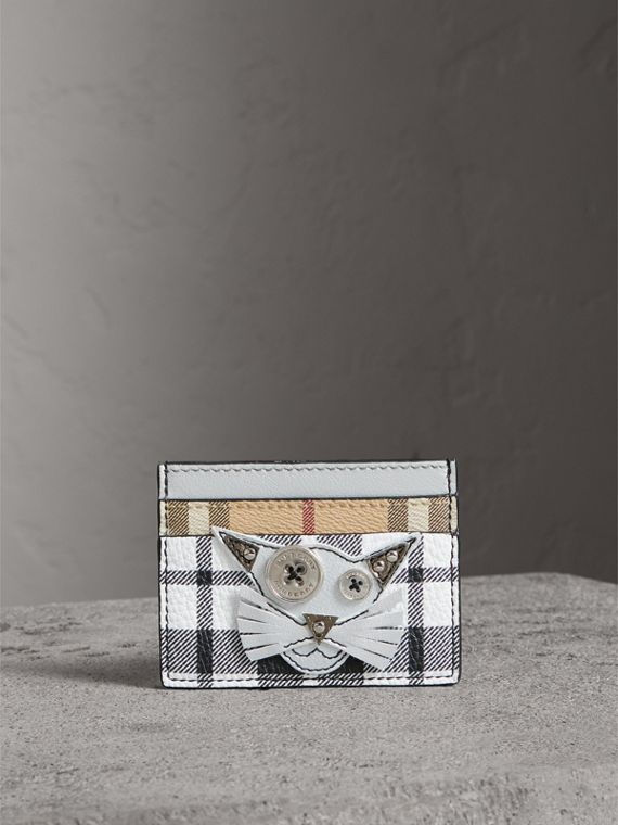 Creature Appliqué Metallic Leather and Check Card Case in Silver/multicolour - Women | Burberry - cell image 3