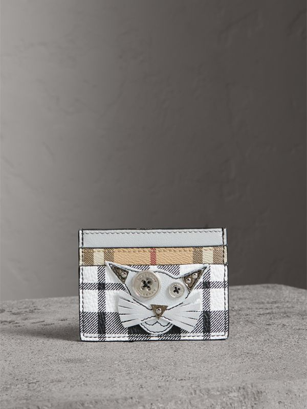 Creature Appliqué Metallic Leather and Check Card Case in Silver/multicolour | Burberry - cell image 3