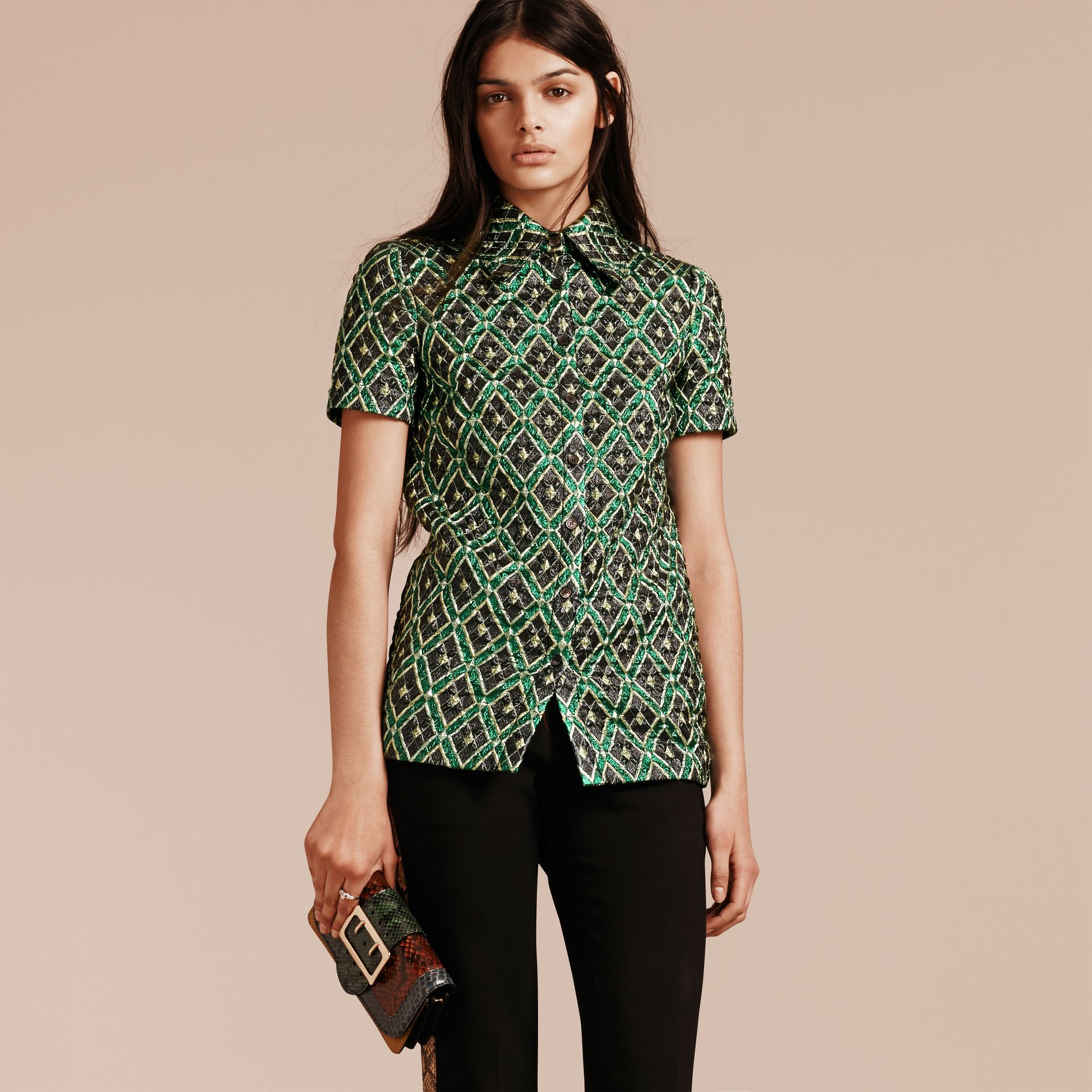 Deep green Short-sleeved Check Jacquard Shirt - gallery image 4
