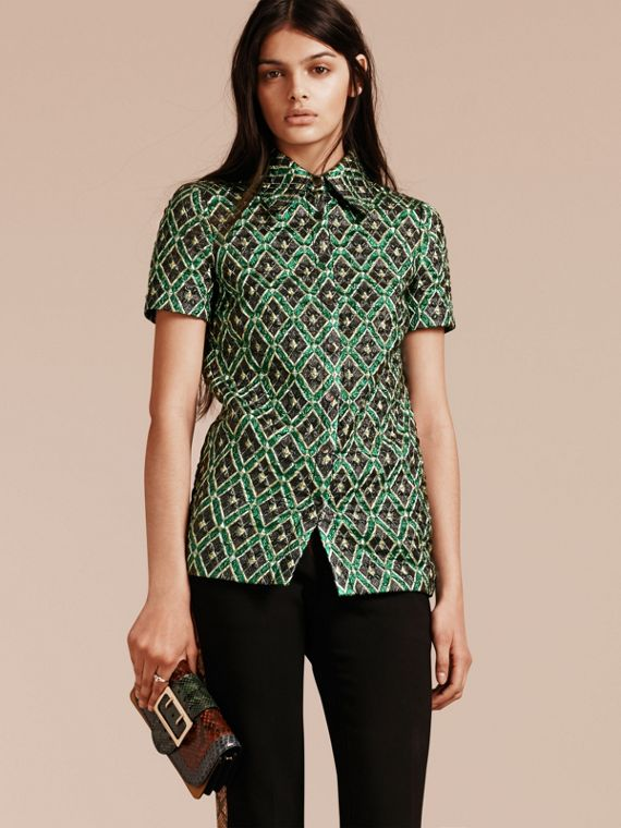 Deep green Short-sleeved Check Jacquard Shirt - cell image 3