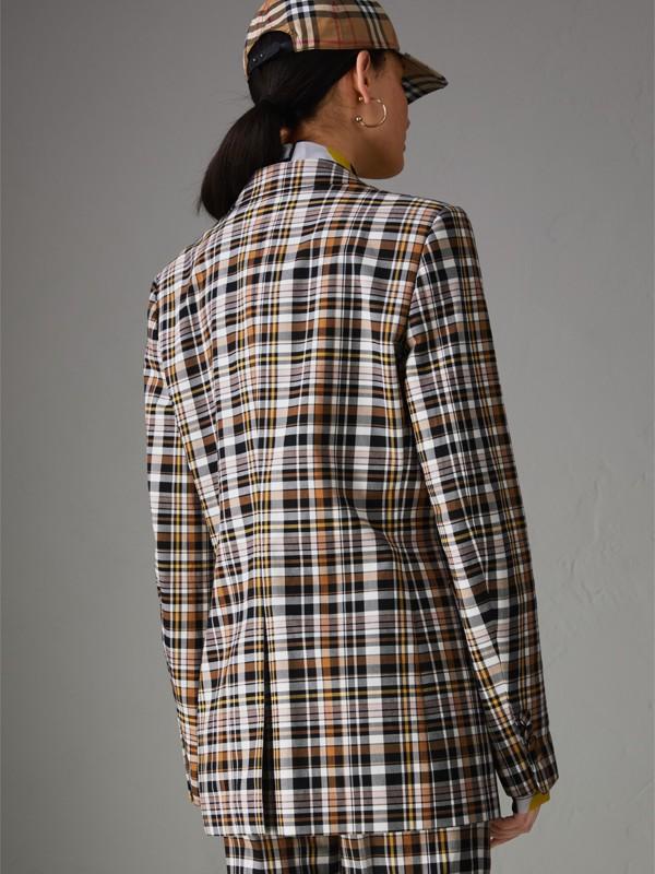 Blazer in cotone stretch con revers a punta e motivo tartan (Toffee Brillante) - Donna | Burberry - cell image 2