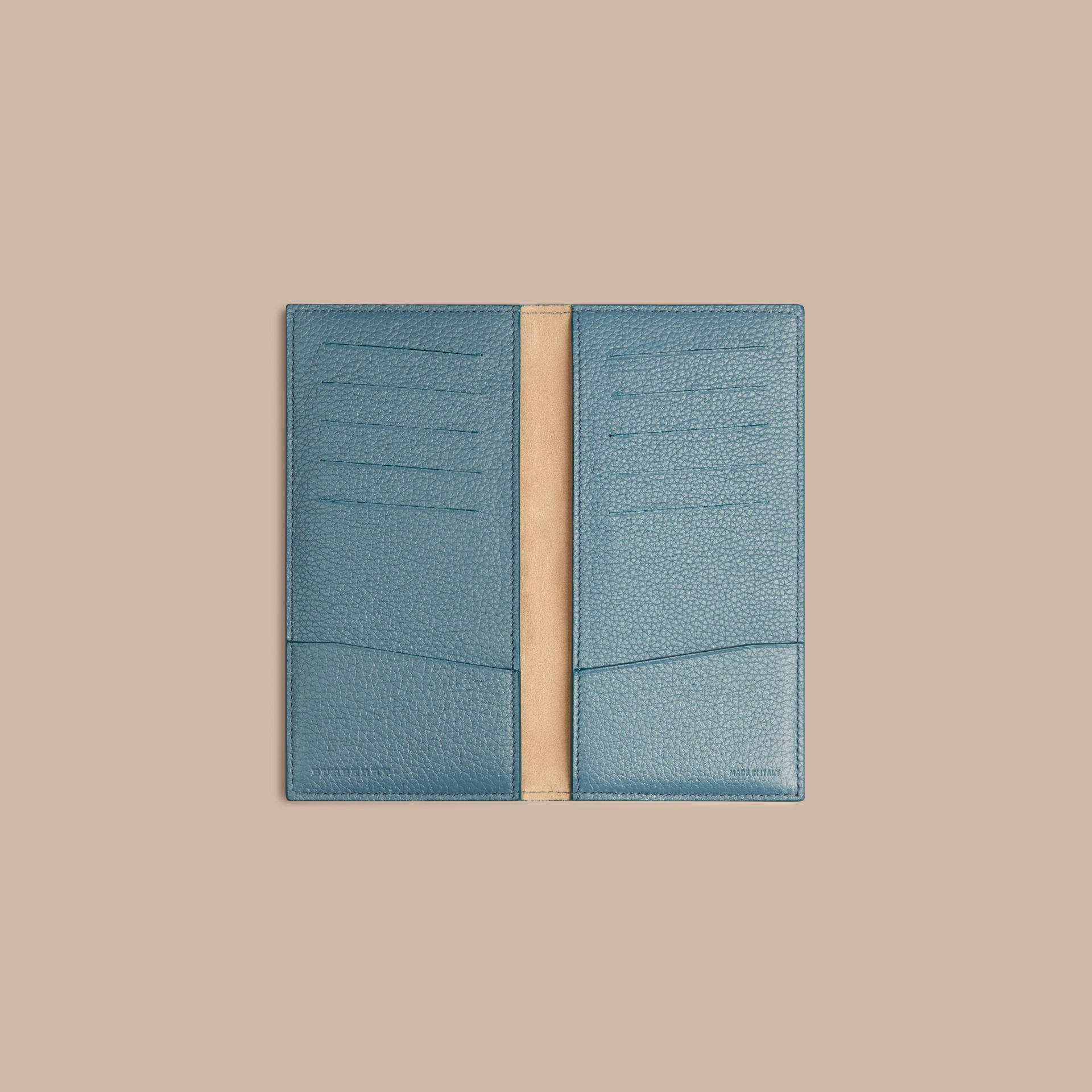 Grainy Leather Travel Card Case in Dusty Teal - gallery image 2
