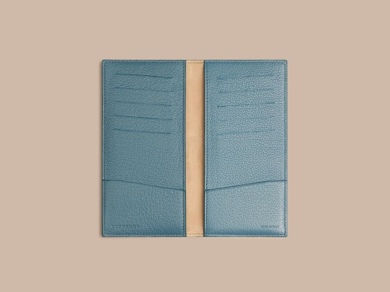 Grainy Leather Travel Card Case in Dusty Teal - cell image 1