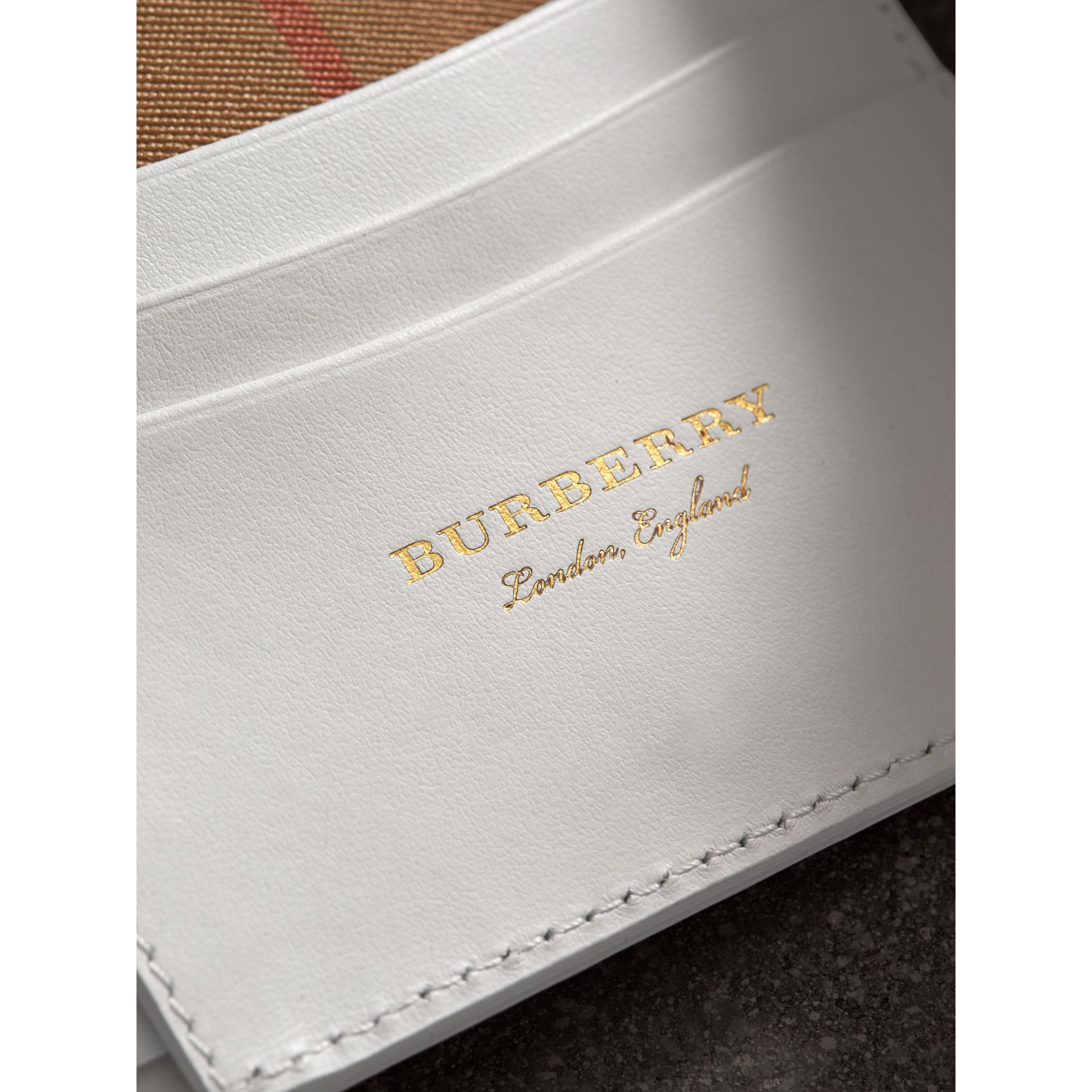 Small Vintage Check and Leather Folding Wallet in Chalk White - Women | Burberry Hong Kong - gallery image 1
