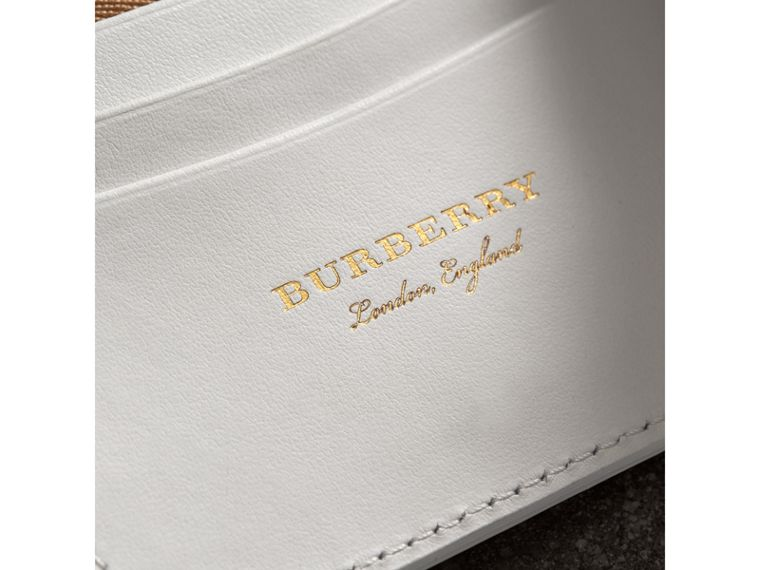 Small Vintage Check and Leather Folding Wallet in Chalk White - Women | Burberry - cell image 1