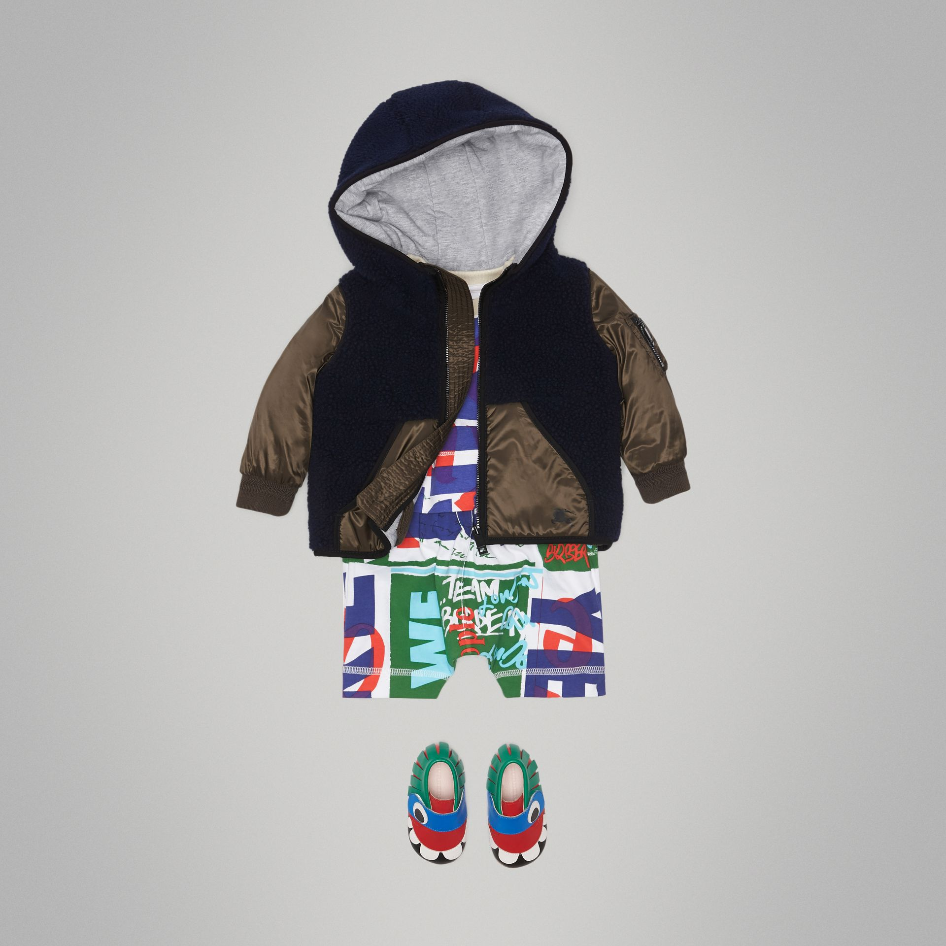 Faux Shearling Panelled Hooded Jacket in Navy - Children | Burberry - gallery image 2