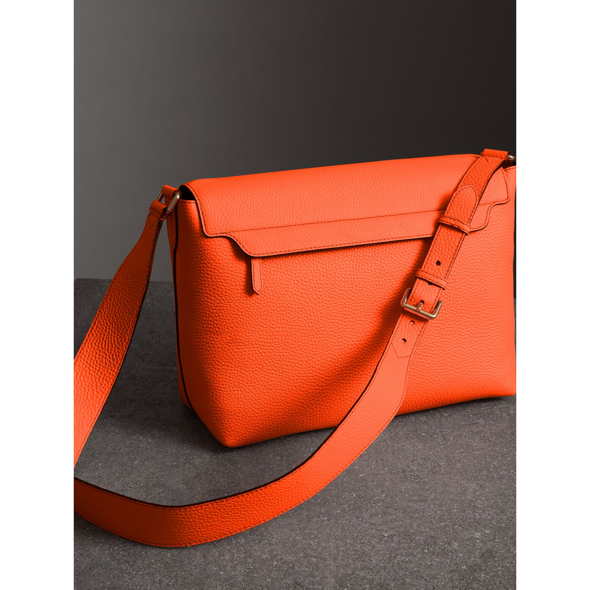 Large Embossed Leather Messenger Bag in Neon Orange | Burberry - gallery image 4