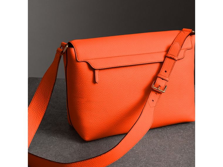 Large Embossed Leather Messenger Bag in Neon Orange | Burberry - cell image 4
