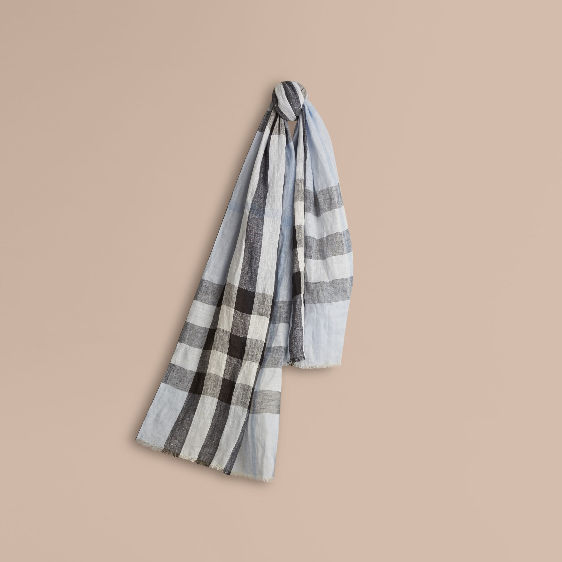 Pale sky blue Check Crinkled Linen Scarf Pale Sky Blue - gallery image 1