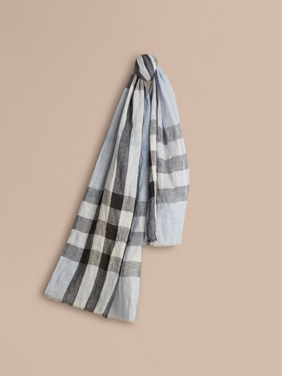 Check Crinkled Linen Scarf Pale Sky Blue