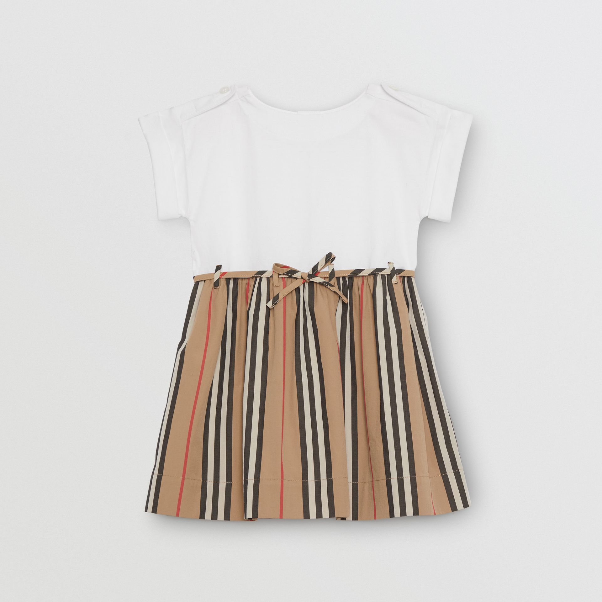 Icon Stripe Cotton Dress in White - Children | Burberry - gallery image 0