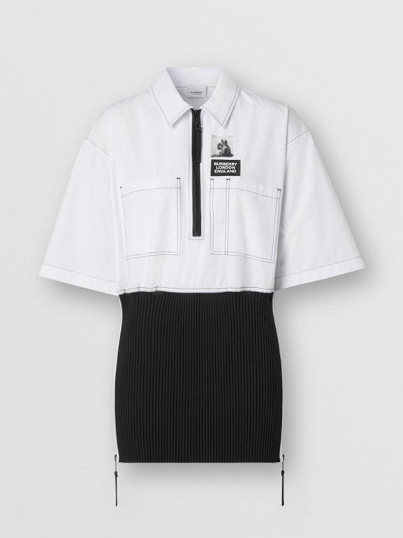 Объемная футболка с трикотажной отделкой (Оптический Белый) - Для женщин | Burberry - cell image 1