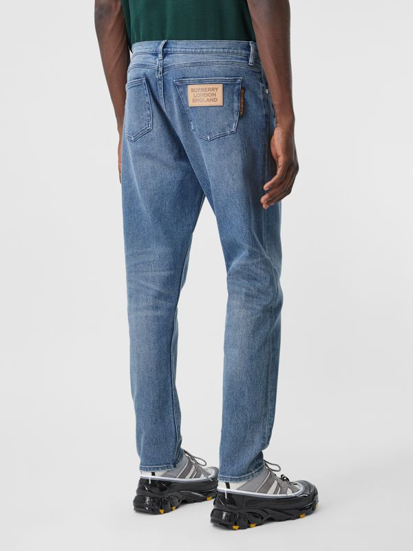 Slim Fit Logo Graphic Washed Jeans in Light Indigo Blue - Men | Burberry - cell image 2