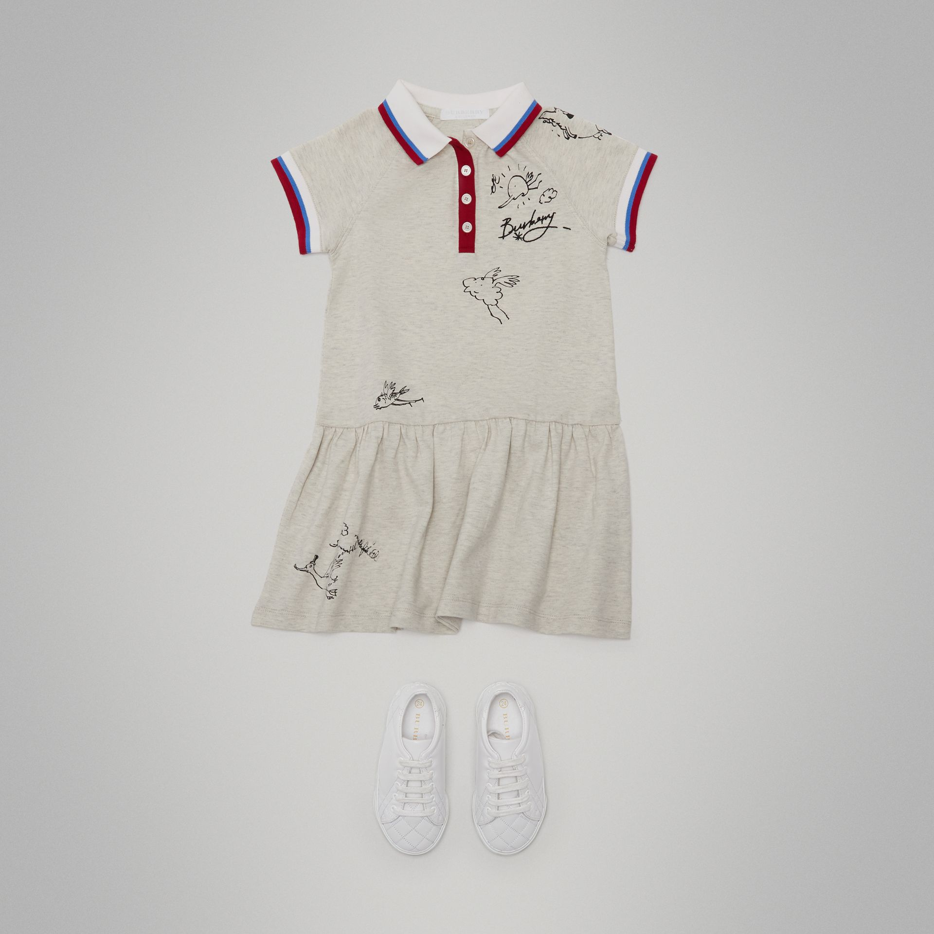 Robe polo en coton extensible (Camaïeu De Blancs) - Fille | Burberry Canada - photo de la galerie 2