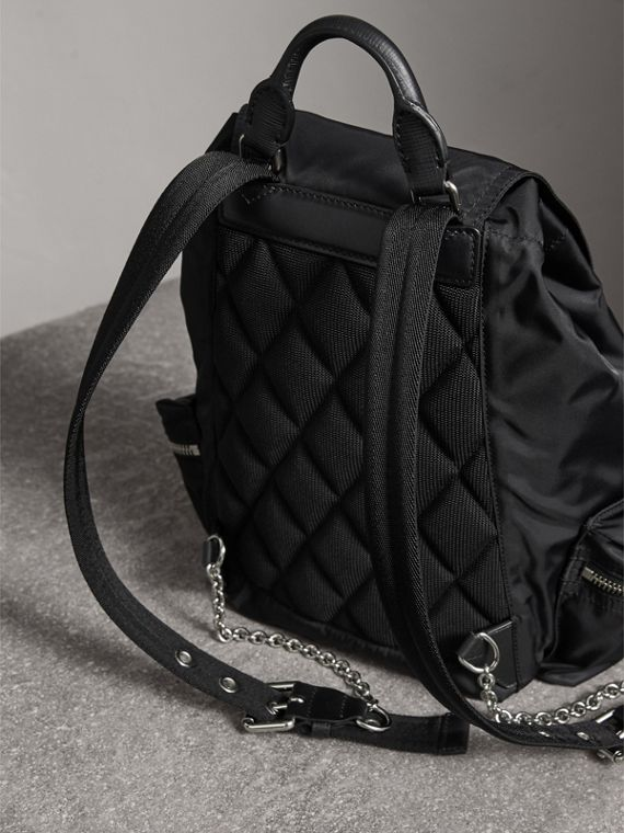 The Medium Rucksack in Nylon and Leather in Black/black - Women | Burberry Singapore - cell image 3