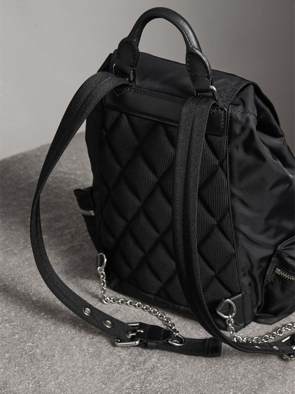 The Medium Rucksack in Technical Nylon and Leather in Black/black - Women | Burberry Singapore - cell image 3
