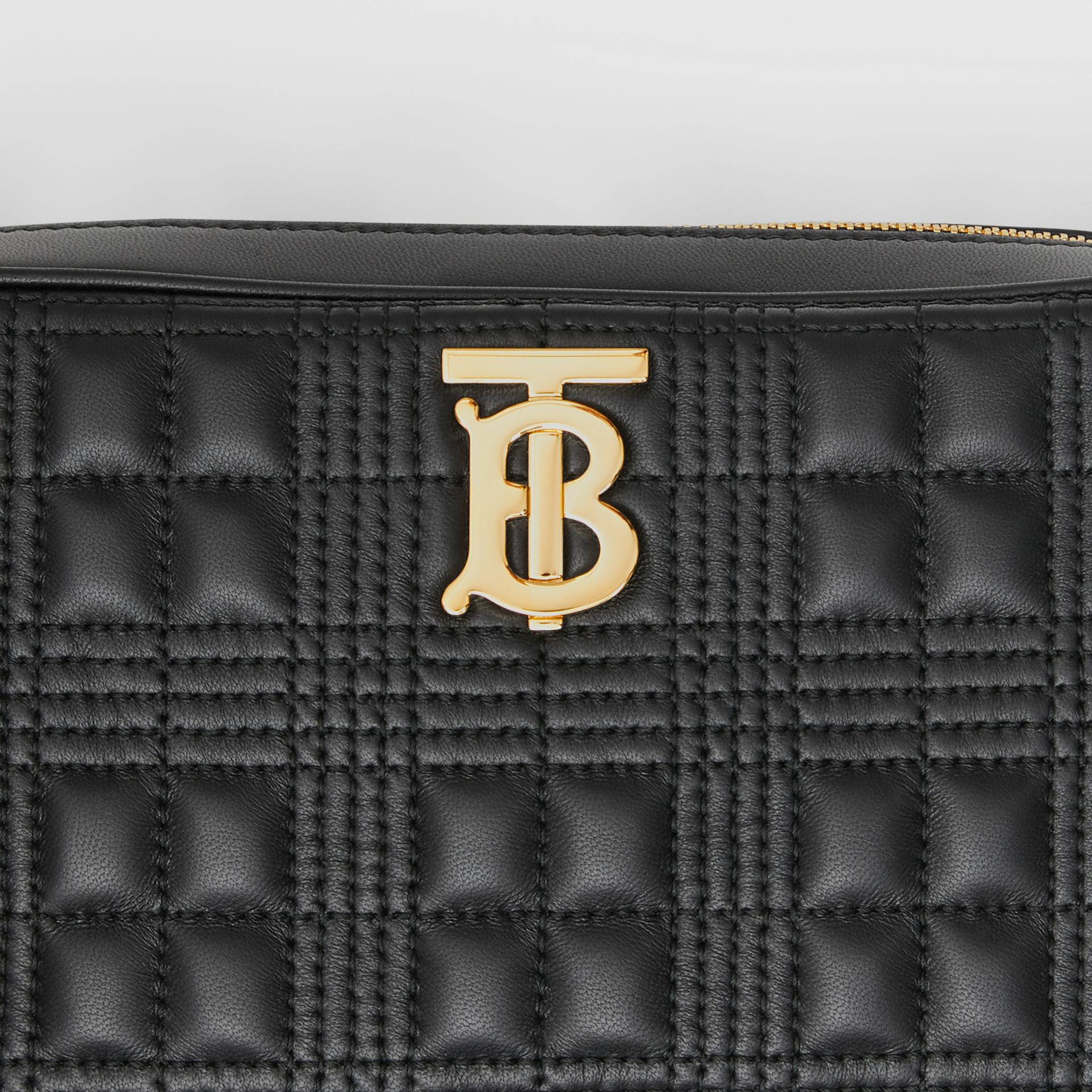 Quilted Check Lambskin Camera Bag in Black - Women | Burberry - gallery image 1