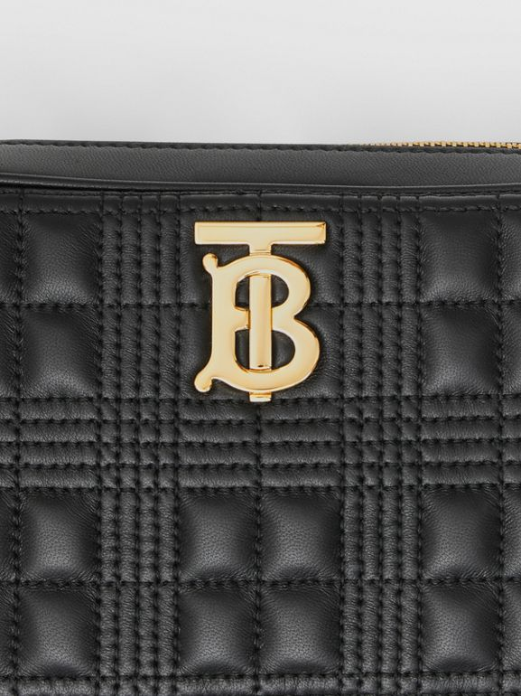 Quilted Check Lambskin Camera Bag in Black - Women | Burberry - cell image 1