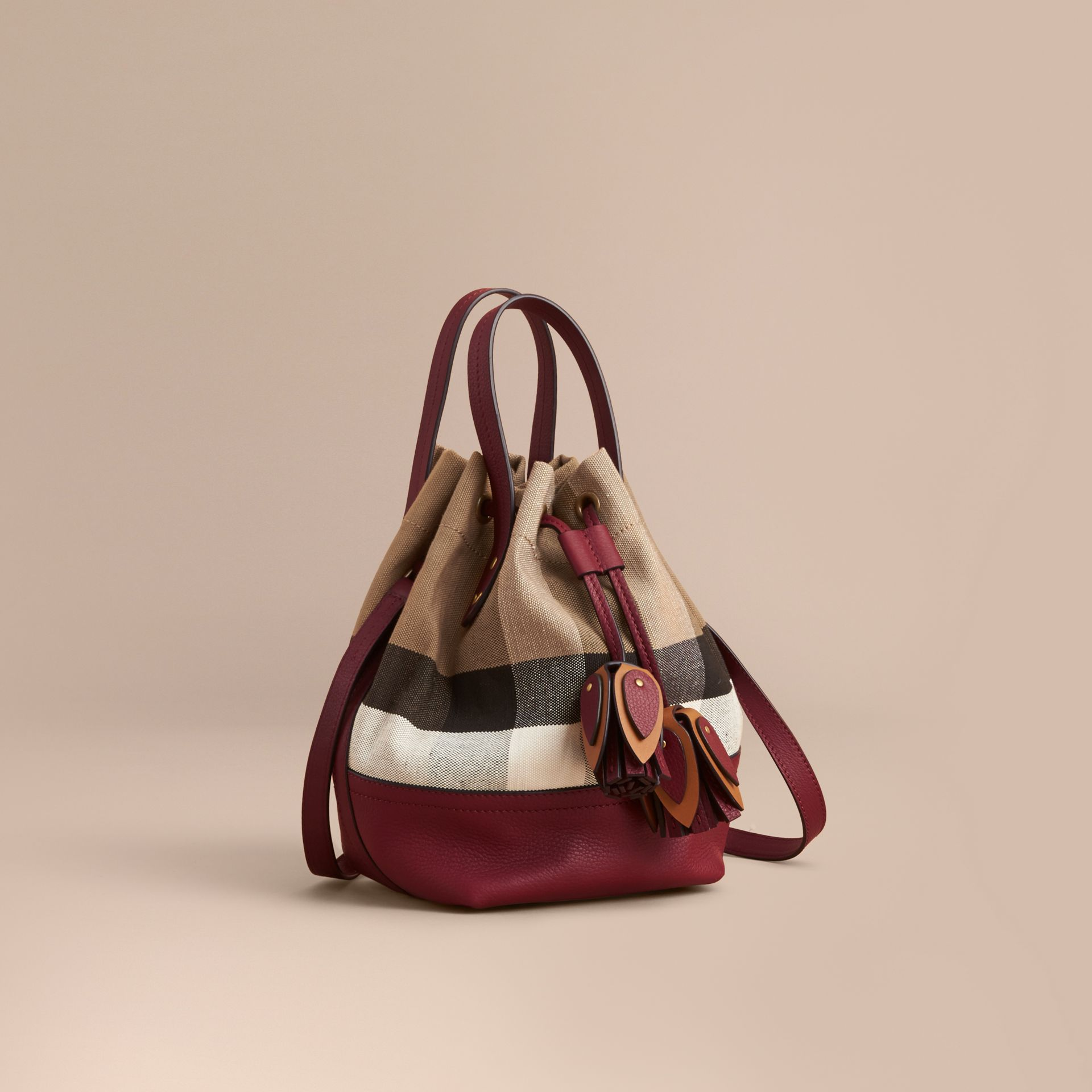Small Canvas Check and Leather Bucket Bag in Burgundy Red - Women | Burberry Singapore - gallery image 1