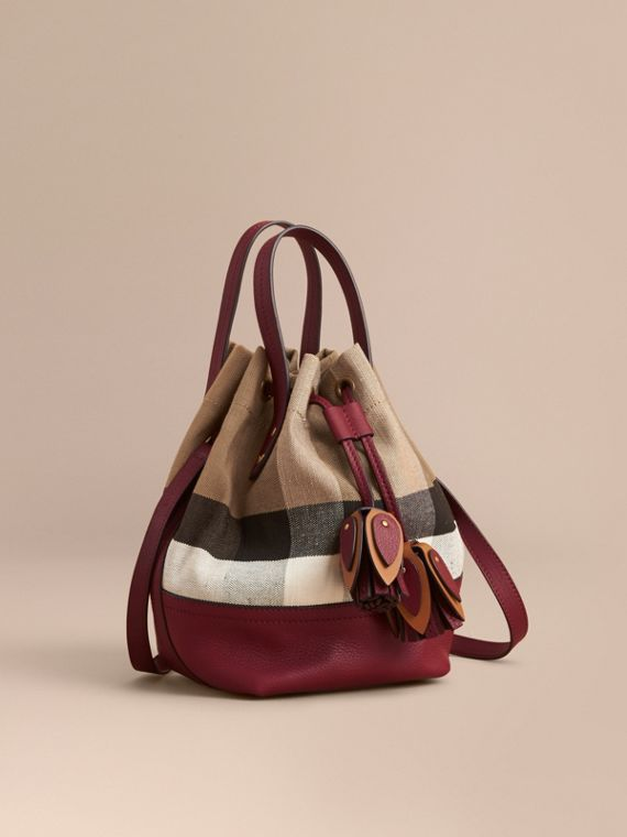 Small Canvas Check and Leather Bucket Bag in Burgundy Red
