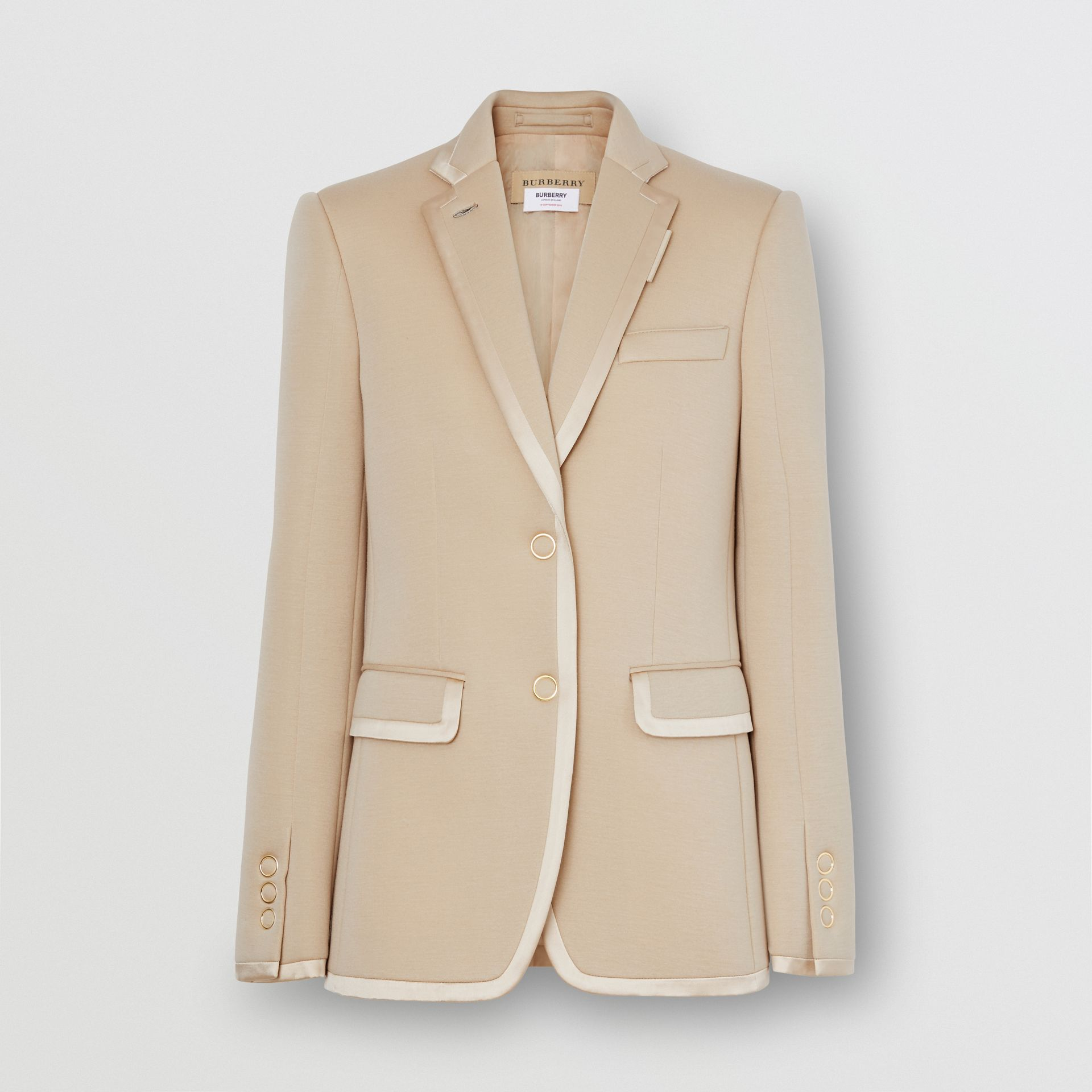 Silk Trim Neoprene Blazer in Teddy Beige - Women | Burberry - gallery image 3