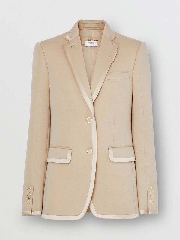 Silk Trim Neoprene Blazer in Teddy Beige - Women | Burberry Australia - cell image 3